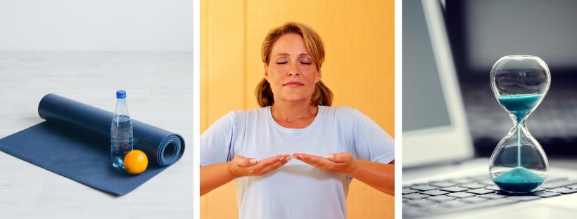 yoga mat water fruit breathing timer